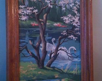 Vintage Paint by Number Swans on a Pond Behind Trees