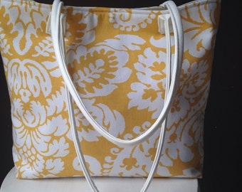 Yellow and White Damask Shoulder Bag