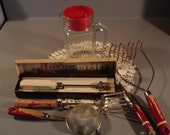 Vintage Retro Red Kitchen Lot  /Chippy/ tools/ Refrigerator Jug/  1944 Chip Chop Ice Chopper in Box/ Sweet Set
