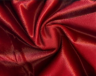 Faux Hair Pony Upholstery Fabric in Falu Red
