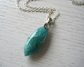 SALE - Natural Blue Green Olivary Russian Amazonite Pendant Necklace