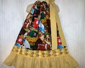 Girls Dress 3T/4T Dogs Flowers Balls Brown Yellow Gold Boutique Pillowcase Dress Pillow Case Dress Sundress