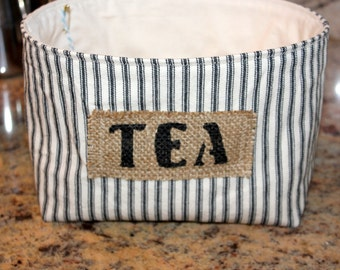 Black Ticking Striped Fabric Basket - Tea