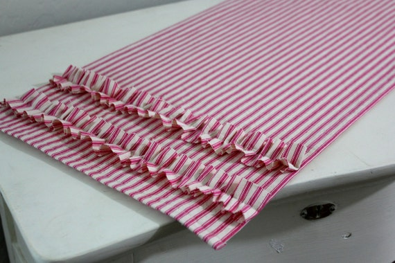 Ruffled Ticking Table Runner - Select Length and Color
