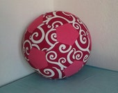 Fabric Soccer Ball-  Pink Swirl Patchwork