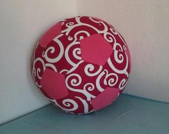 Fabric Soccer Ball-  Pink Swirl Patchwork