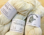 Merino Superwash/Nylon SPORT Sock Yarn - Natural White - 100g Skein
