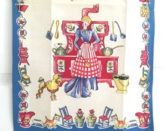 Vintage Tea Towel Victorian Kitchen Cook Poodle