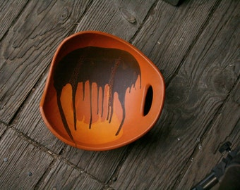 Modern 1970s Royal Haeger Clay Art Bowl In Cinammon and Rust Abstract Vintage From Nowvintage on Etsy