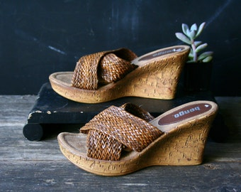 Woven Leather Platform Slides Bohemian Fashion With Cork Bottoms Bongo US Size 6 Vintage From Nowvintage on Etsy