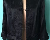 Traditional Chinese Black Silk Quilted Reversible Jacket size MEDIUM/LARGE
