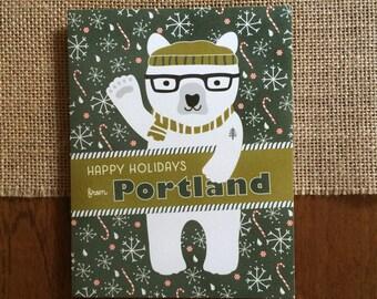 Polar Portland Folded Holiday Cards, Box of 10 - Portland Christmas Cards - Happy Holidays from Portland - OC1174-PDX-BX