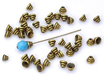 Beehive Bead Caps Solid Antiqued Brass 6mm Made in USA - 12