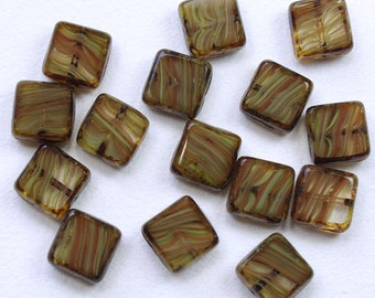 Tan with Hints of Orange Givre Picasso Czech Glass Square Window Beads 11mm - 15