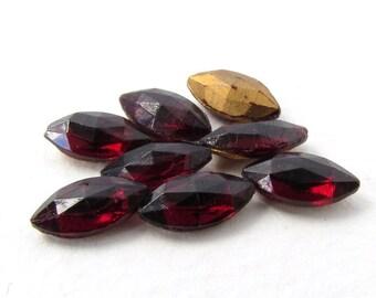 Vintage Rhinestone Navette Garnet Jewel Faceted Dark Red Ruby Fancy Glass Stone 10x5mm rhs0568 (8)