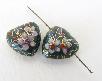 Vintage Cloisonne Beads Enamel Flower Pink Green Heart Red Blue Gold Puffy Focal 17mm vgb0936 (2)