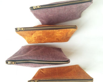 Small Makeup Bag. Waxed Bag Purse Organizer. Small Zip Pouch. Herringbone Bag. Purple Orange or Yellow Make Up Bag. Gifts 25 and Under.