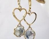 SALE Gold Clear Crystal Heart Dangle Earrings