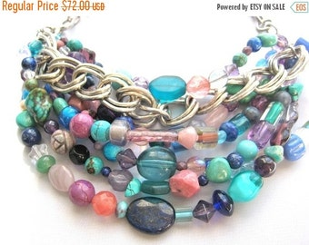 SALE Chunky Multi Color Chains Beaded Necklace,Layered Hand Made Silver Chains Bib Jewel Tones Beads,