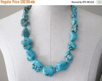 SALE Chunky Turquoise Necklace,  Chunk Nuggets Long Necklace