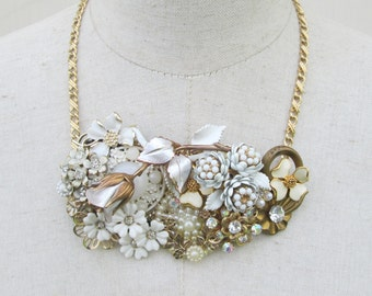 White Gold Flower Brooch Collage Necklace