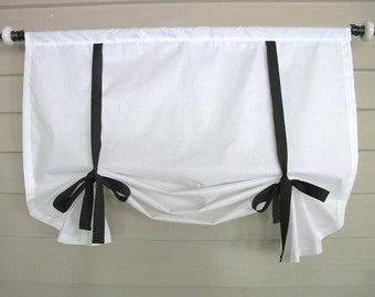 CUSTOM Order for IWWAA1    White Shade with Black Ties 48 Inch Long Swedish Roll Up Window Shade Stage Coach Blind Tie Up Curtain