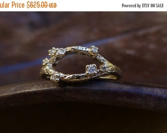 Sale 25% off. Branch engagement ring.  Textured branch diamond ring. 14k yellow gold branch engagement ring. Ready to ship.