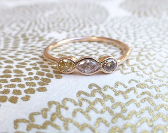 Colored diamond Engagement ring. Colored diamond ring. 3 stone diamond ring.14k rose gold diamond ring.Diamond Stacking ring. Ready to ship.