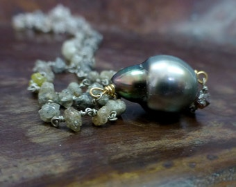 Raw diamond necklace.  Tahitian pearl necklace. Rough diamond beads with Tahitian black pearl.  South sea pearl necklace.