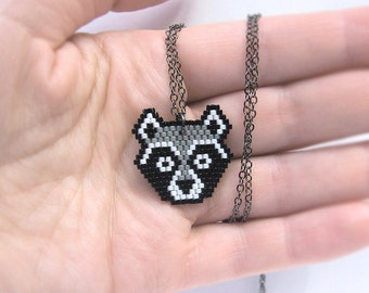 Raccoon beadwork Necklace