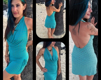 Large - Turquoise and Coral Flower of Life - Aurora Dress