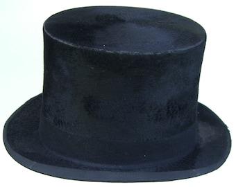 7 3/8 - Vintage Black Beaver Fur Men's Top Hat