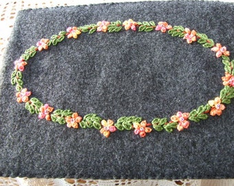 Address Book in Dark Grey Felt with A Garland of Flowers and Foliage