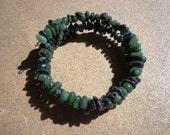 Bracelet Ruby in Zoisite Gemstone Chips Beads on Wire Coil