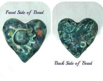 Heart bead - Handmade Ceramic Heart Bead , Clay heart bead, Steam-punk bead,  #16