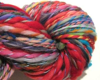 Handspun Yarn Waste Not Want Not 162  yards rainbow yarn knitting supplies crochet supplies waldorf doll hair