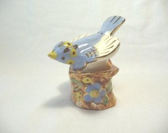 Bird Salt Pepper Shaker Set, Vintage Shaker Set, Bird on Stump, Ceramic Shaker Set, Glass Blue Bird, Vintage Housewares,Kitchen Decor,Unique