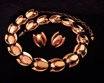 Vintage RENOIR Copper Tulip Necklace & Earrings Set