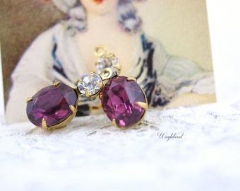 Amethyst & Crystal 18x8mm Vintage Oval Set Stones 1 Ring Rhinestone Dangles Brass Prong Settings - 2