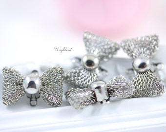 Mesh Bow Connector Link Charms 19mm Silver Tone - 4
