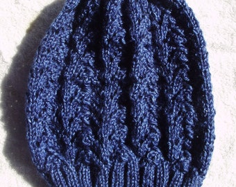 Dark Blue Hand Knitted Slouch Hat