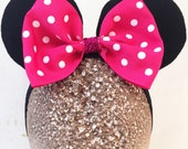 Baby Minnie Ears Girls Stretch Headband Shocking Pink Polka Dot Bow Mouse Ears Band Photography Prop