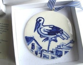 Stork - Handpainted Delft  Blue Porcelain Ornament/ wall hanging