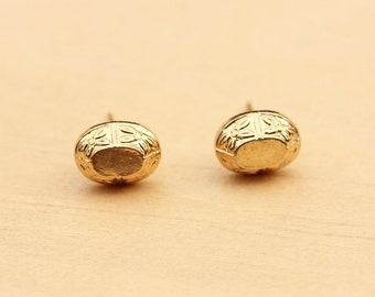 Gold Oval Studs, Gold Nugget Studs, Gold Studs, Round Gold Studs, Engraved Studs, Flower Studs, Small Gold Studs, Gold Dome Studs, Studs