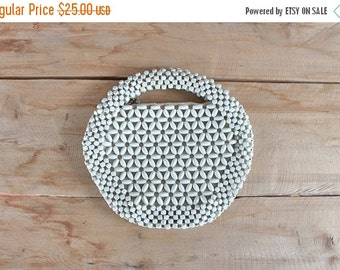 SALE 1940s clutch purse / white wooden beaded evening bag / made in Czechoslovakia / vintage wedding purse