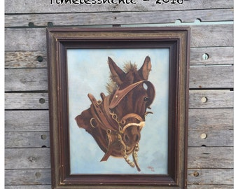Oil Painting  - Vintage Oil Painting - Horse - Horse Painting - Rustic Decor - Horse Decor  - Farmhouse CHIC