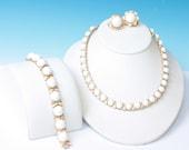 Crown Trifari White Milk Glass Bead Necklace Bracelet Earrings Summer Winter Whites