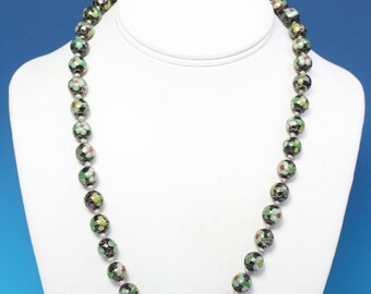 CIJ Sale Cloisonne Bead Necklace Green Black Porcelain Beads Vintage