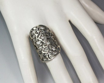 Large Sterling Statement Ring Size 8 3/4 / R Knuckle Duster Pierced Filigree Vintage