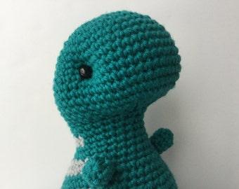 Gift For Kids Crochet Plush T-Rex - Teal & Gray Amigurumi Doll Gift Under 50 Gift For Teens Kawaii Plush Dinosaur Stuffed Animal Plushie